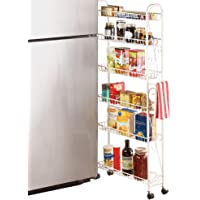 """Slim Rolling Pantry 6-Tier Shelf, White Metal with Elegant Scroll Design Accent - Extra Kitchen and Bathroom Storage, 6"""""""