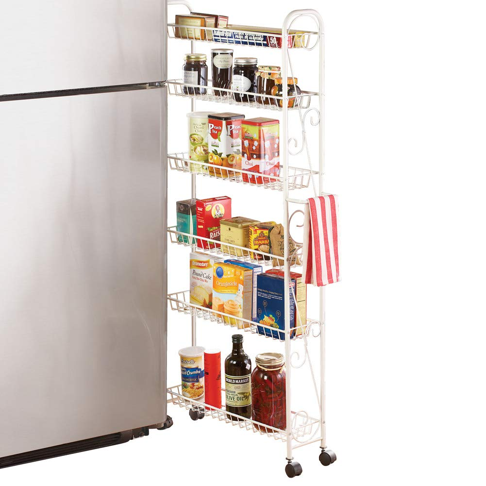 Slim Rolling Pantry 6-Tier Shelf, White Metal with Elegant Scroll Design Accent - Extra Kitchen and Bathroom Storage, 6'' by Collections Etc