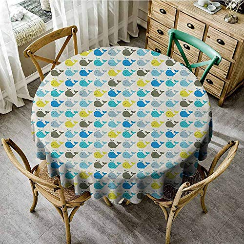 ScottDecor Wrinkle Free Tablecloths Baby Whales in Various Designs Stripes Stars Squares and Dots Cute Aquatic Mammals Pattern Multicolor Overlay Round Tablecloth Diameter 36