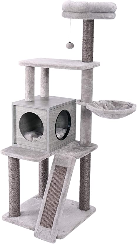 Rabbitgoo Cat Tree Tower 61-inches Multi-Level Kitten House Condo with Scratching Posts /& Hammock Large Cat Stand Furniture Climbing Play House Center with Plush Perch for Indoor Activity Relaxing