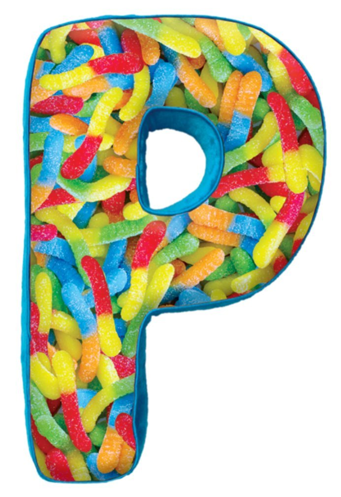 iscream Lettermania P Initial 16'' Gummy Worms Print Fleece Back Microbead Pillow