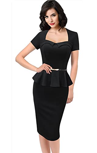 Yomoko Womens Elegant Vintage Peplum Wear To Work Business Pencil Dress
