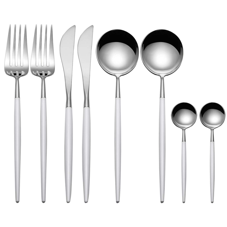 cucchiaio bianco e argento MORGIANA set di stoviglie argentato con coltello in acciaio INOX 18//10 servizio per 2 forchetta e cucchiaino Set di posate da 8 pezzi colore: bianco