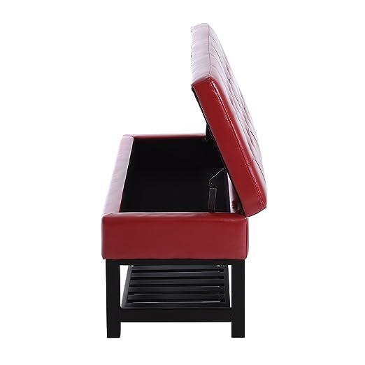amazoncom homcom 44u201d pu leather tufted shoe rack ottoman storage bench red kitchen u0026 dining