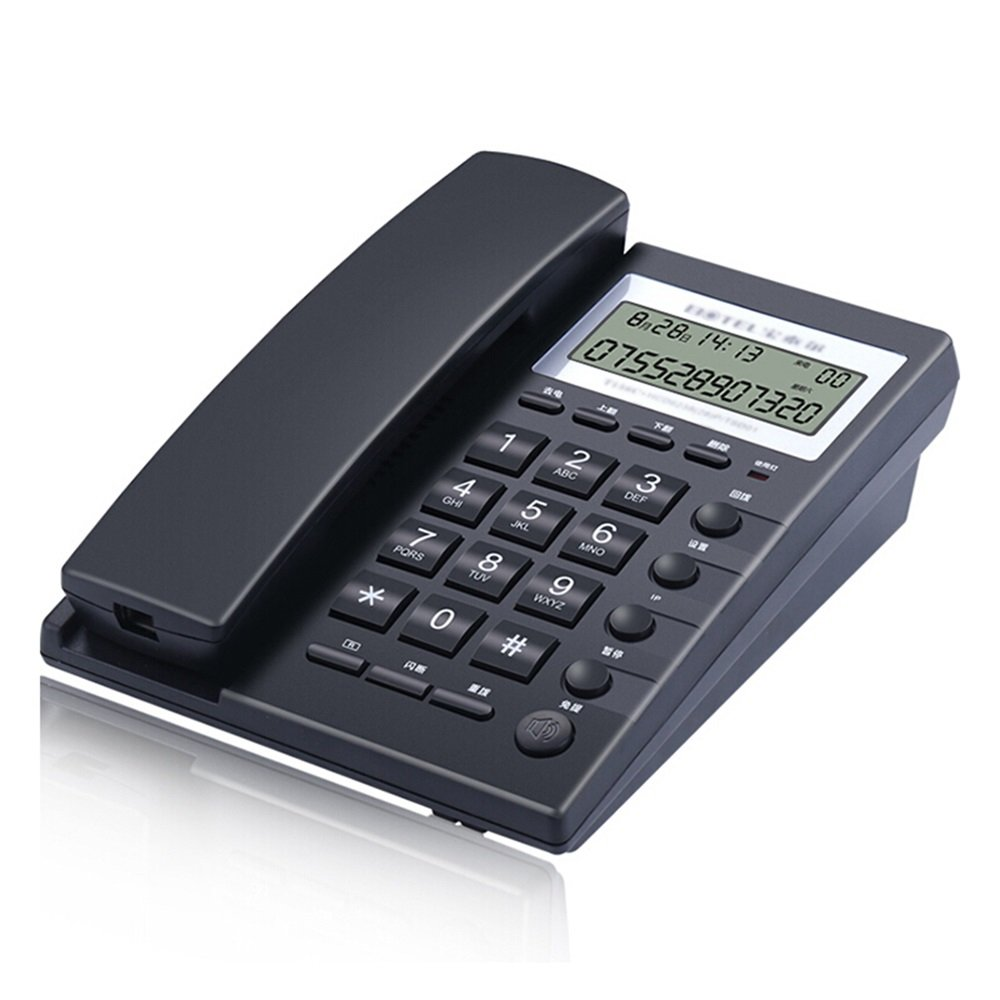 Landline Telephone Fixed telephone Battery-free business home office wall-mounted telephone 21016075cm (Color : Black)