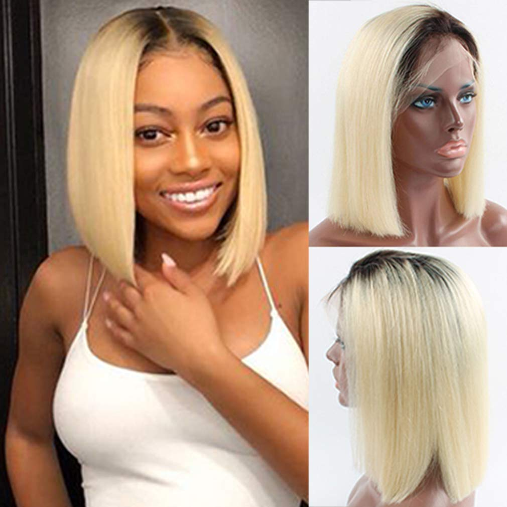 Amazon Com Smartinnov Dark Roots Blonde Bob Lace Wig Preplucked Hairline 13x6 Deep Middle Part With Baby Hair Straight 14inch Brazilian Human Hair Short Bob Wigs 613 Blonde 150 Density For Black