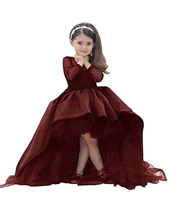 0752234eab54 Amazon.com: KissAngel Burgundy Lace Flower Girl Dress Black Less Party Dress:  Clothing