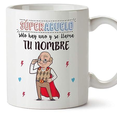MUGFFINS Taza Personalizada Super Abuelo Regalos para Desayuno Personalizables con Nombres