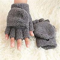 REGOU Coral Fleece Fingerless Gloves Plush Winter Gloves for Women Solid Color Knitted Half Finger Mittens Cute Typing Gloves Flip