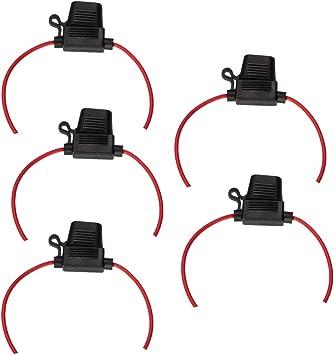 ESUPPORT 12 Gauge ATC Fuse Holder Box In-Line AWG Wire Copper 12V 30A Blade Standard Plug Socket Pack of 5