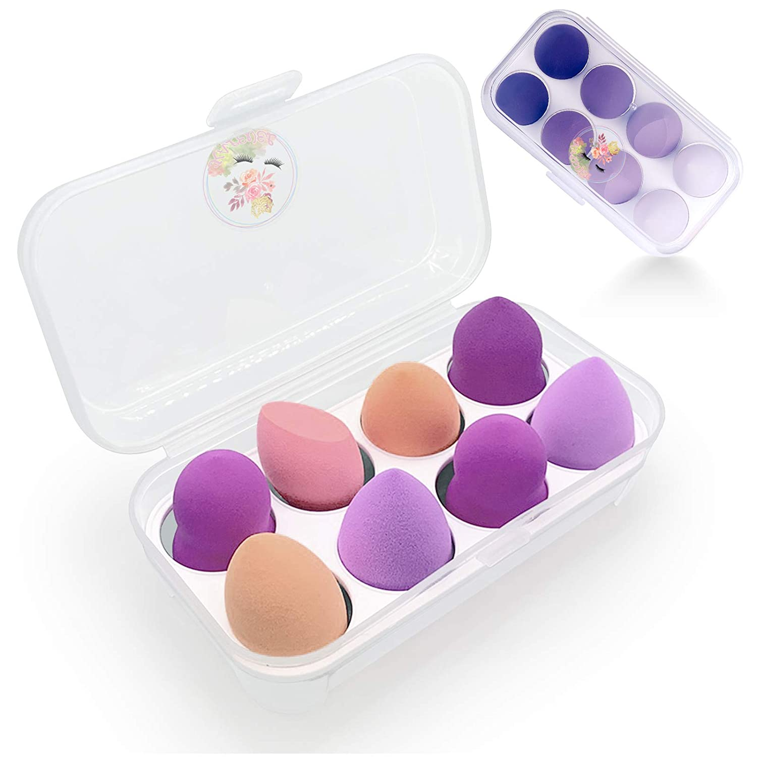 Kalevel Makeup Sponge Holder Case Container Cosmetic Beauty Sponge Storage Box Dustproof and Easy to Clean 8 Holes