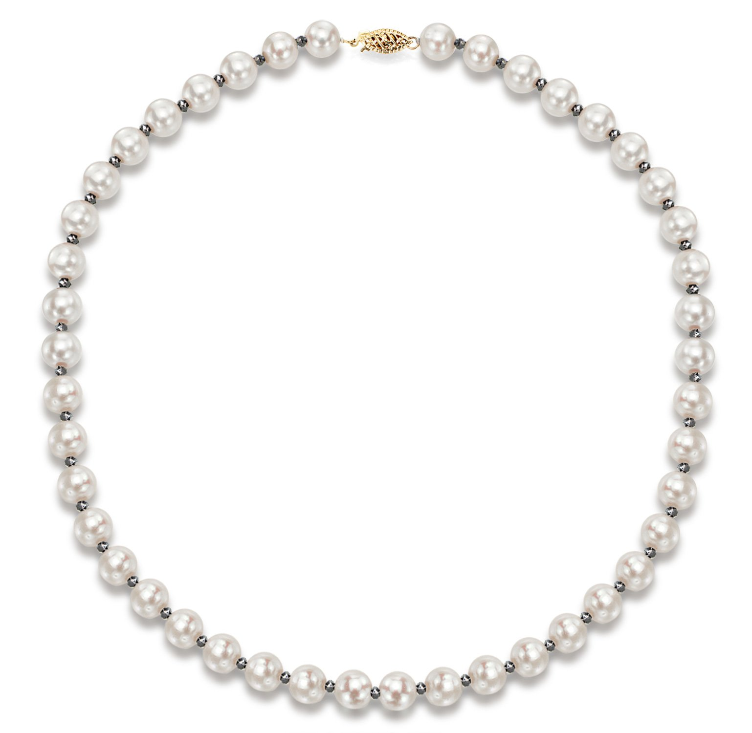 14k Yellow Gold 8-8.5mm White Freshwater Cultured Pearl and 2-3mm Black Diamond Necklace, 18''