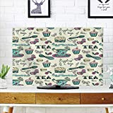 LCD TV dust Cover Strong Durability,Tea Party,Happiness is a Cup of Tea Stylized Calligraphy Butterflies Roses Decorative,Cream Pink compatibleest Green,Picture Print Design Compatible 55'' TV
