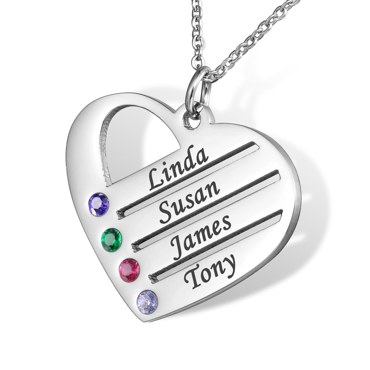HOUSWEETY Love Family Pendant Heart BFF Necklace with Birthstones - Birthstone Heart Necklace - Custom Made with 4 Names HOUSWEETYB107345-CA