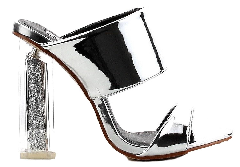Cape Robbin Maria-15 Lucite Clear Perspex Glitter Block Heel Open Peep Toe Mule Shoe Silver