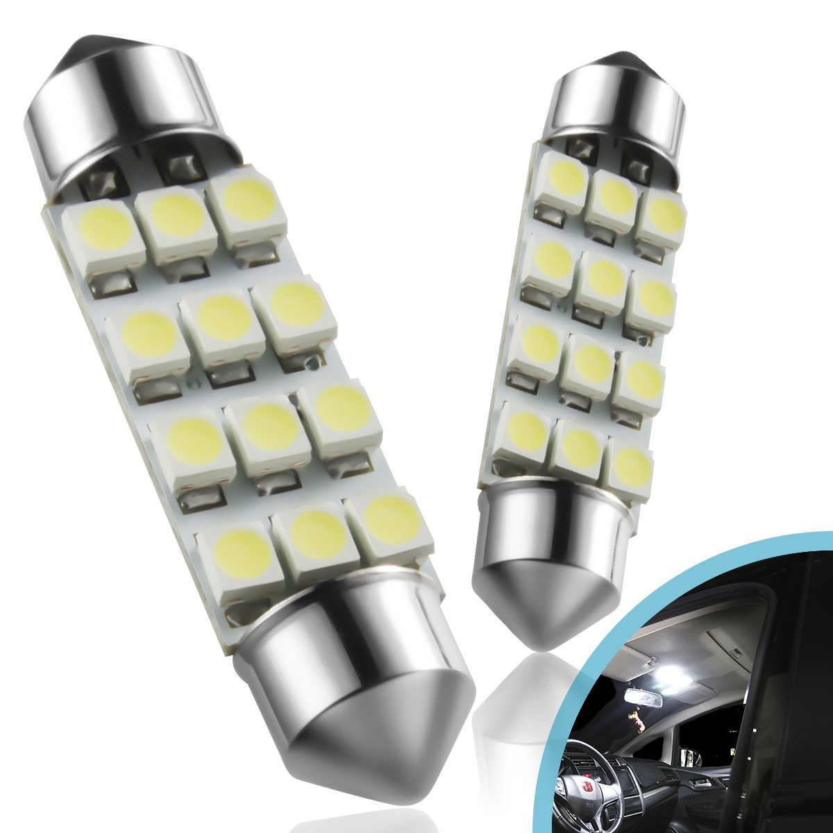 Marsauto 194 168 T10 2825 LED License Plate Lights Bulbs No-Polarity, Replacement Bulbs Car Dome Map Door Courtesy License Plate Lights White 12V 4 PCS 4336326681