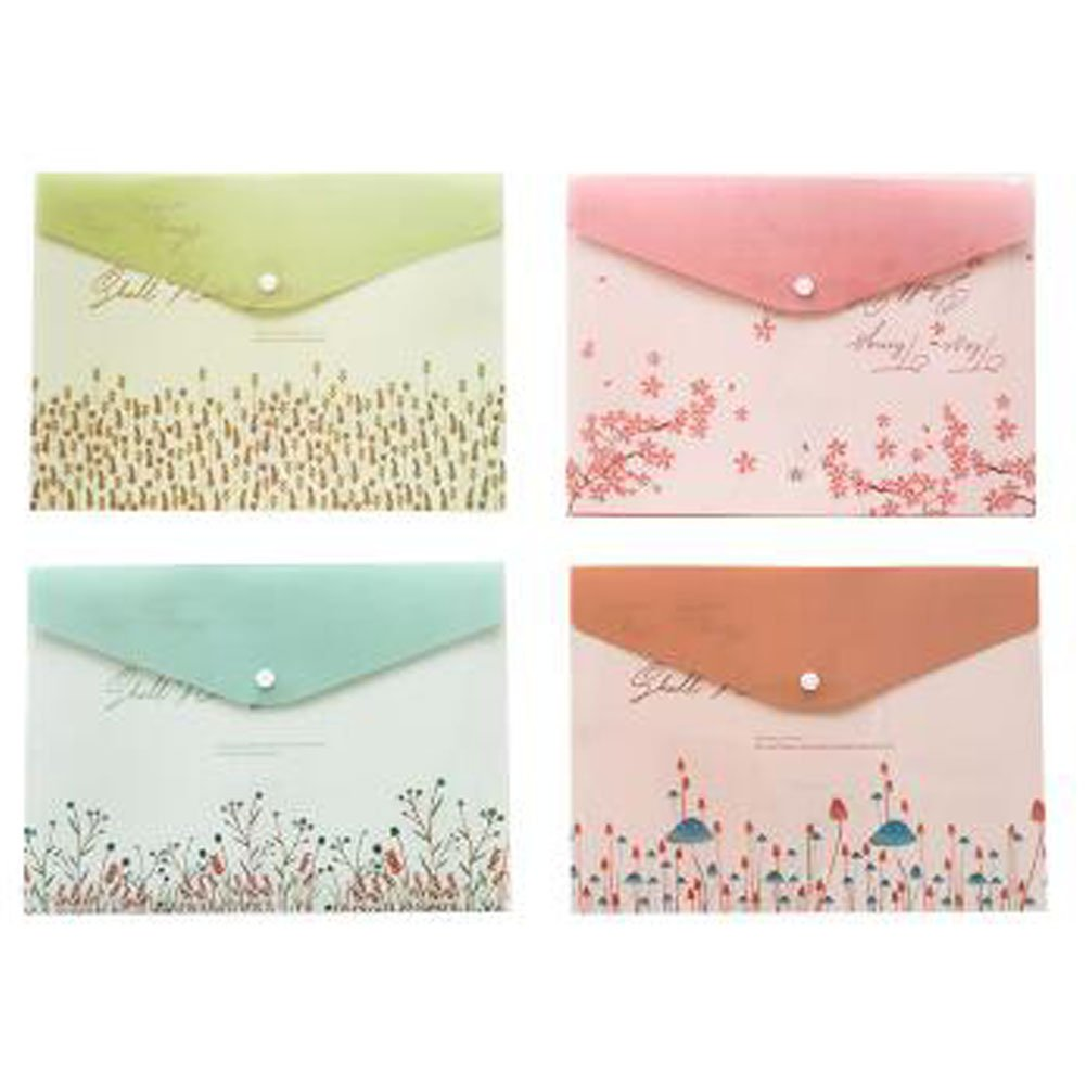 2PCS Cute File Bag Stationery Bag Pouch File Envelope for Office/School Supplies, Beautiful