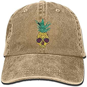 Female Vintage Washed Dyed Cotton Adjustable Baseball Cap Pineapple Fruit Skull Head Trucker Hat