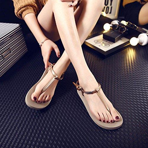 Moda Mujer verano sandalias confortables tacones altos,38 blanco apricot