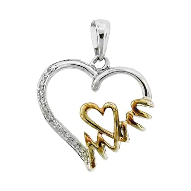 173c09dd9 Image Unavailable. Image not available for. Color: Sterling Silver Womens  Round Diamond Yellow-tone Mom Heart Pendant 1/20 Cttw