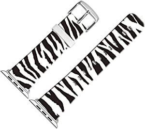 Bands Compatible for iWatch 38mm/40mm,38mm/40mm Leather Strap Wrist Band Replacement W Silver Metal Clasp Compatible with iWatch 38mm/40mm Series 1 2 3 4 5 - Personalized Zebra Lines Print Design