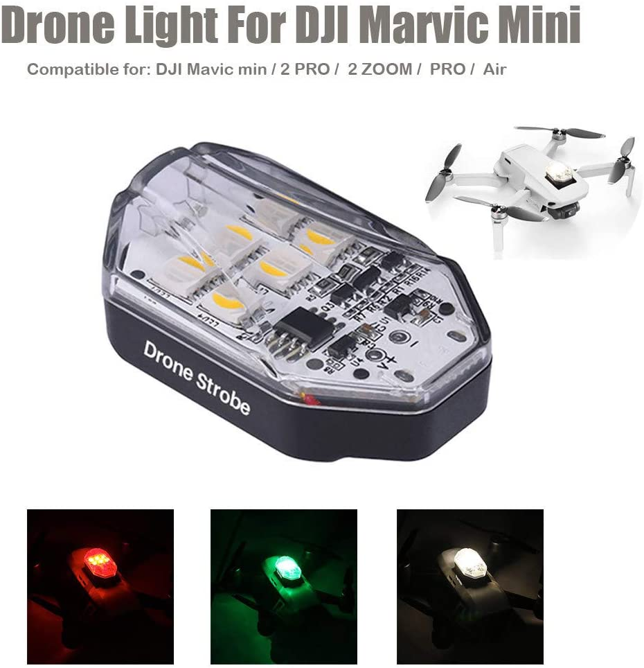 Black YJYdada Night Light for DJI Mavic Mini Night Fly Visible Drone Accessories,3 Mode Anti-Collision Strobe Lighting 250mAh Rechargeable
