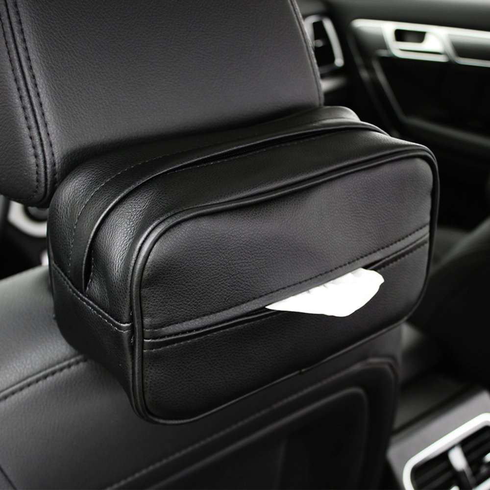 Keep Top Luxury Leather Car Sun Visor Tissue Case Holder Paper Towel Bag Cover, Back Seat Headrest Hanging Napkin Clip FULL WERK