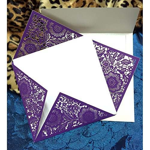 WOMHOPE® 50 Pcs - Four Corners Hollow Laser Cut Lace Shimmer Wedding Invitation Party Invitations Cards Birthday Invitations Cards Wedding Favors (Purple) ()