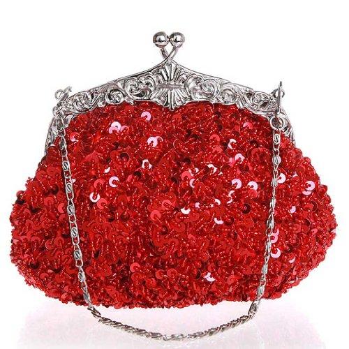Bolso de Embrague Monedero de la Cartera del Bolso de Mano Lentejuelas Bolso de Tarde (Negro) Rojo