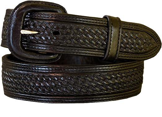 Western Leather Belt Basket Weave Russet 1.5 Wide