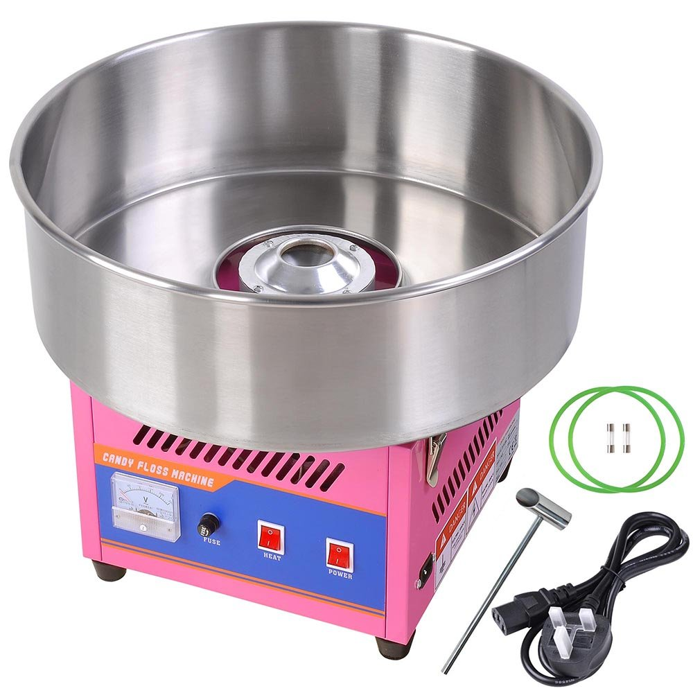 Commercial Electric Cotton Candy Machine Sweet Sugar Candy Floss Maker Pink Cotton Candy Machine - Bright, Colorful Style- Makes Hard Candy, Sugar Free Candy, Sugar Floss, Homemade Sweets for Birthday Parties