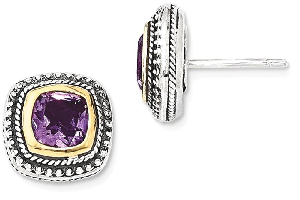 ICE CARATS 925 Sterling Silver 14k Purple Amethyst Post Stud Ball Button Earrings Fine Jewelry Gift For Women Heart