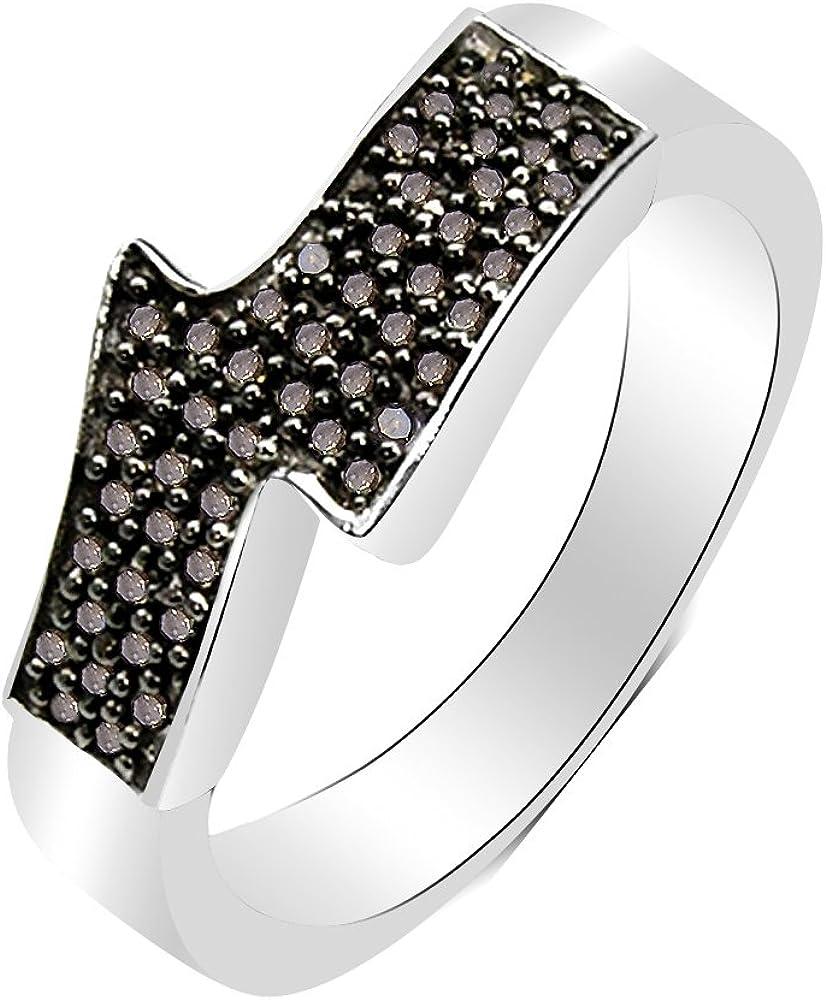 Silvancé - Anillo de mujer - plata esterlina 925 bañada en rodio - auténtico piedras preciosas: Champagne Diamond ca. 0.29ct. - R5543CHD