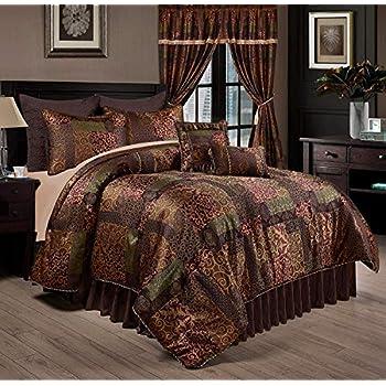 7-Piece Gitano Jacquard Patchwork Comforter Set Bed-In-A-Bag California King
