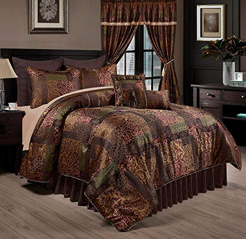 Chezmoi Collection Amelia 9-Piece Floral Jacquard Patchwork Comforter Set, Queen ()