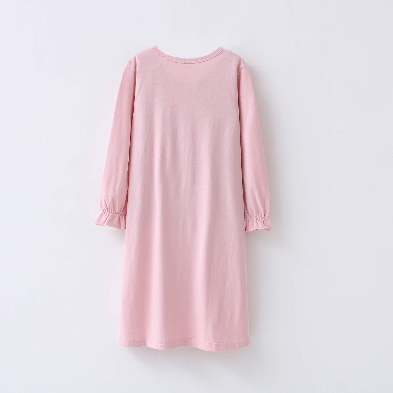 Girls Nighties Round Collar Sleepwear Cotton Puff Lace Princess Nightdress Pure 3-10Years