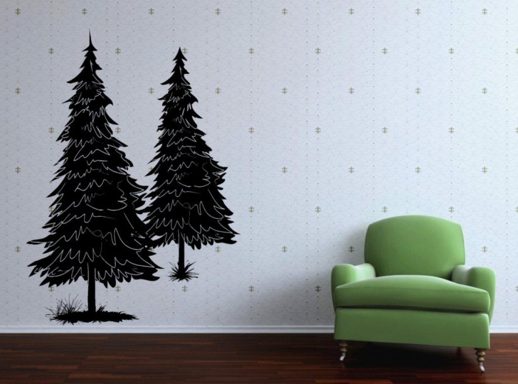 Amazon.com: Vinyl Wall Decal Two Pine Tree Art Design Sticker: Home U0026  Kitchen