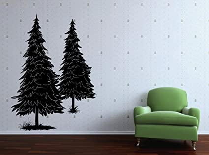 Vinyl Wall Decal Two Pine Tree Art Design Sticker & Amazon.com: Vinyl Wall Decal Two Pine Tree Art Design Sticker ...