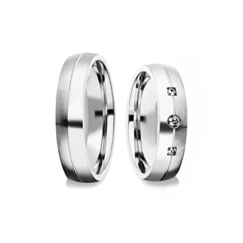 alianzas alianzas de anillos de compromiso Amistad Anillos Plata 925 * Incluye Luxus Funda * Swarovski
