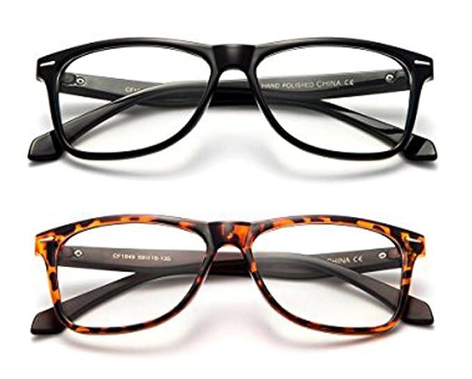 9e4796cf525b Amazon.com  Newbee Fashion -Sol Thick Frame Squared Fashion Clear ...