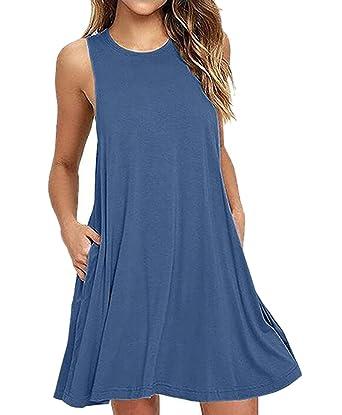 5fa76ed03d Camisunny Fashion Vest Tank Dress for Women Summer Cotton T Shirt Dresses  Swimsuit Cover-up
