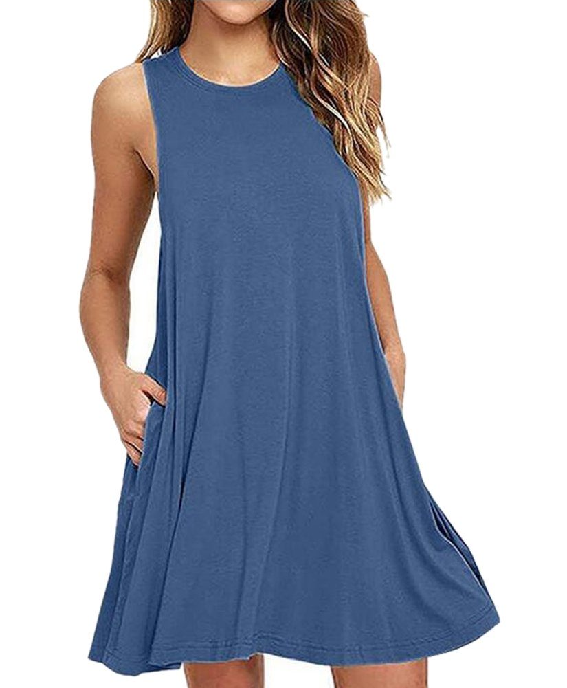 Summer Tunic Dresses for Women with Pockets Cotton T Shirt Dress Stretchy Sleeveless Size E