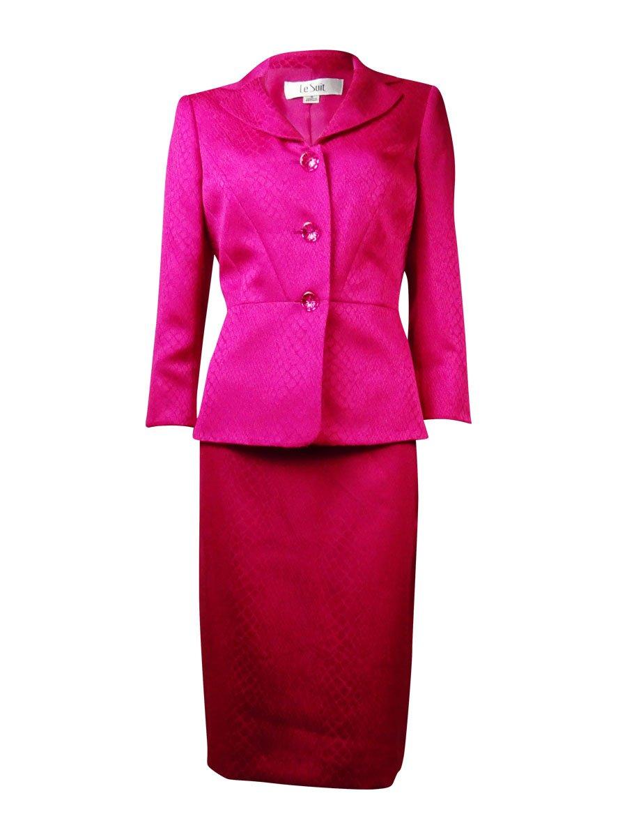 Le Suit Womens Plus Snake Print 2PC Skirt Suit Pink 16W