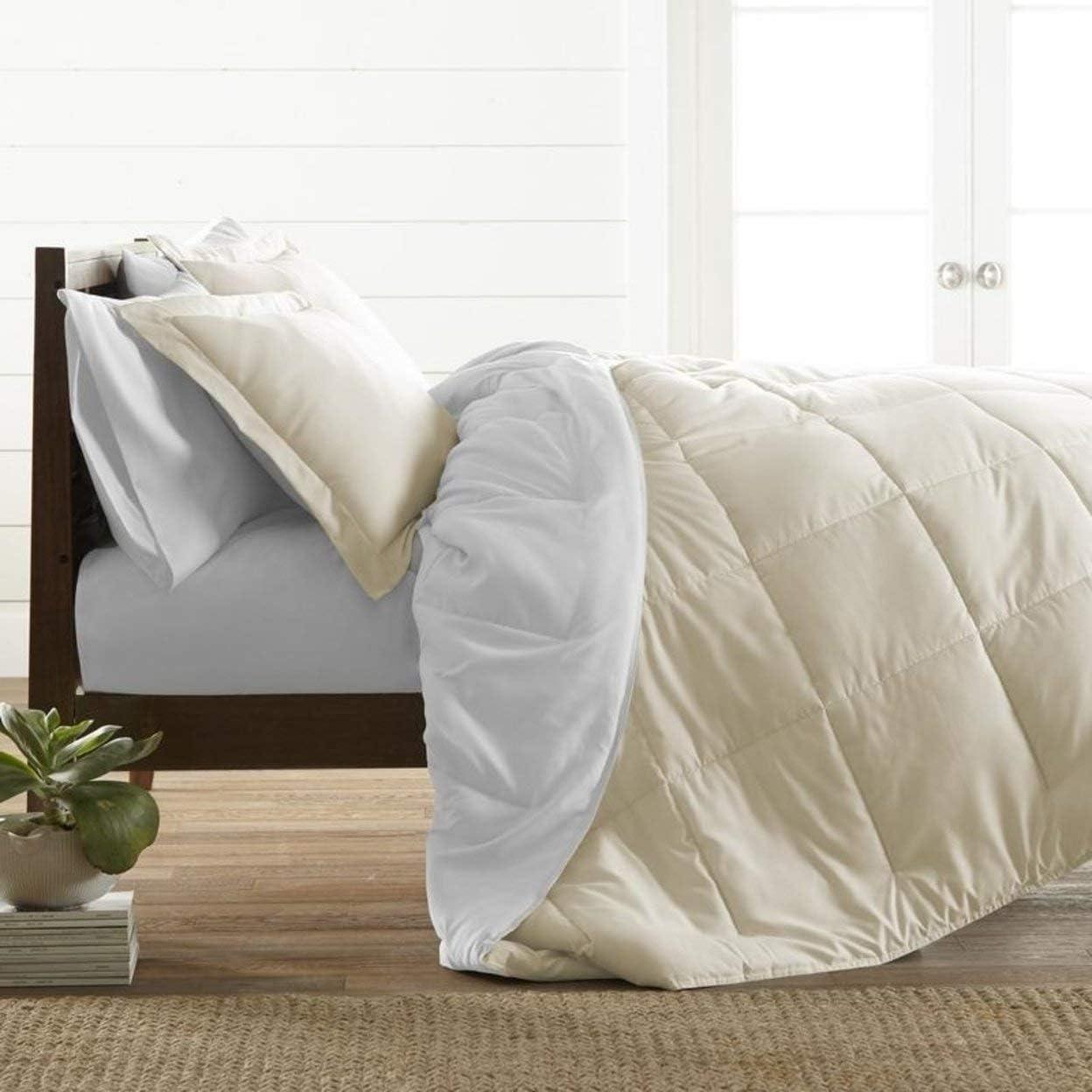ienjoy Home Premium Down Alternative Reversible Comforter Set, Full/Queen, White