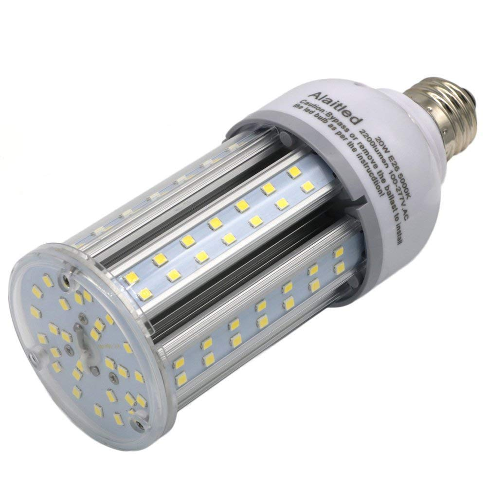 Alaitled 20W Led Corn Light Bulb for Indoor Outdoor,E26 Base 2200lumen,Equal to150W Incandescent,HID Metal Halide HPS Replacement - Used Street,Backyard,Warehouse,Acorn and Area Lighting (20W)