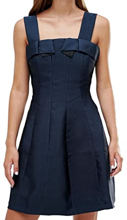 See U Soon bow detail skater style prom dress, Navy, UK 14