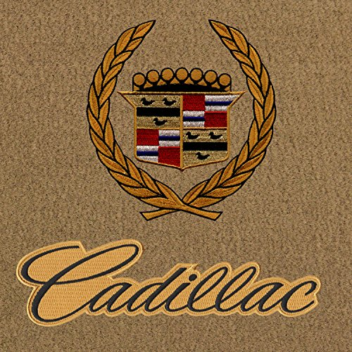 Lloyd Mats Velourtex Tan Front Floor Mats For Cadillac Allante 1987-93 with Gold Cadillac Crest and Black Cadillac Lettering on Gold Applique