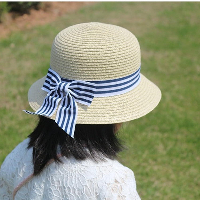 Victorian Kids Costumes & Shoes- Girls, Boys, Baby, Toddler KimmyKu Toddler Kids Childs Floppy Straw Sun Hat with Stripe Ribbon BowKnote $11.99 AT vintagedancer.com