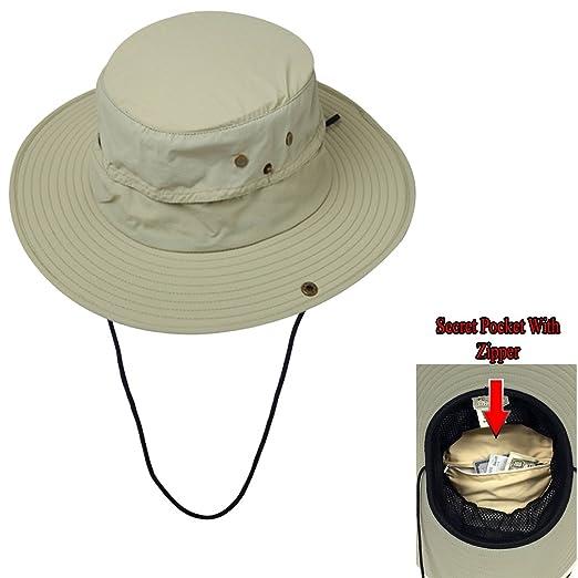 Unisex Safari QuikDry Bucket Hat with Hidden Cash Card Zipper Pocket-Snap  up Brim at Amazon Men s Clothing store  09094b00433