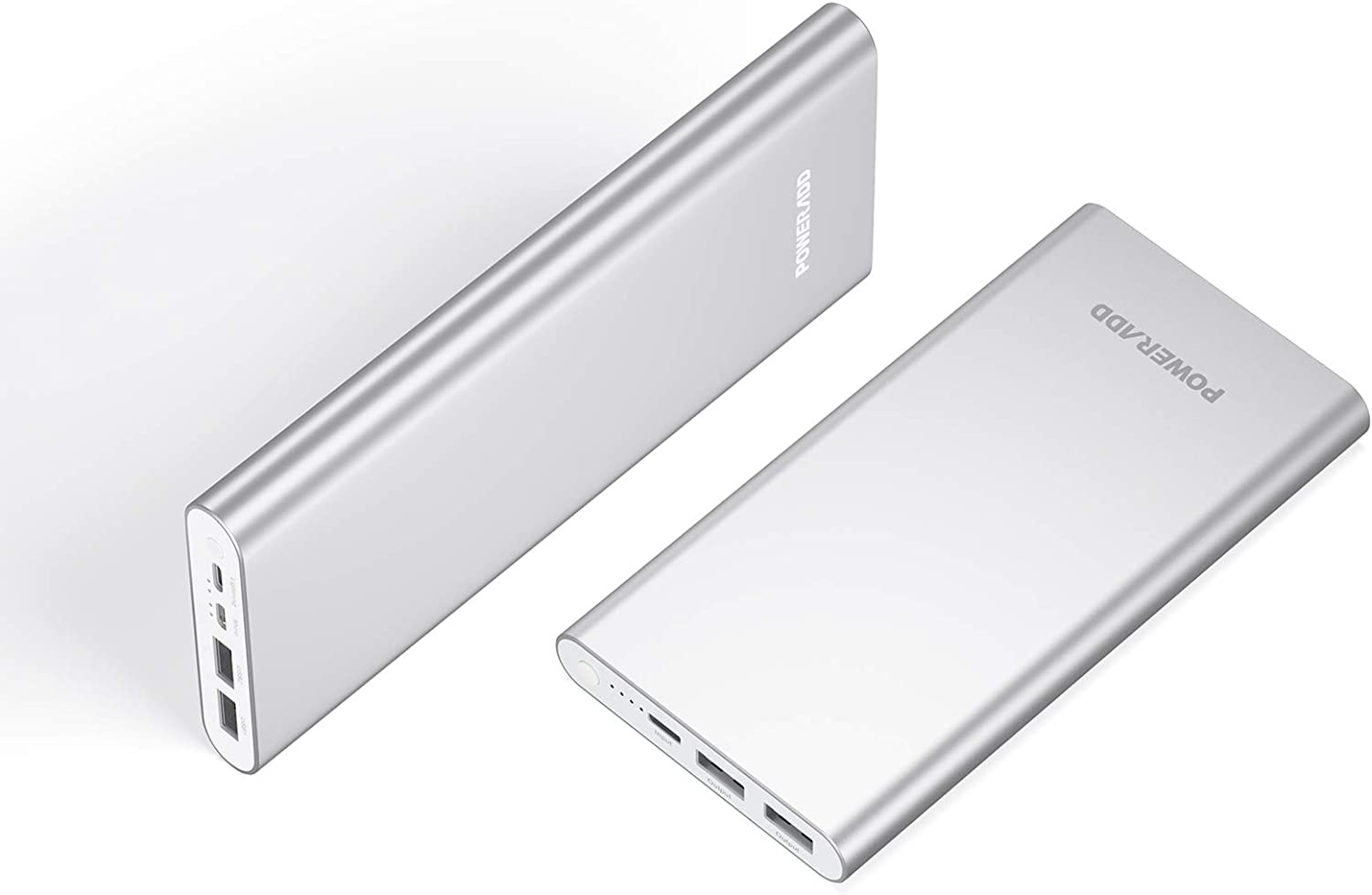 POWERADD Pilot 4GS 12000mAh Portable Charger 8 Pin Input Power Bank with 3A High-Speed Output Compatible with iPhone, iPad, iPod, Samsung and More - Silver